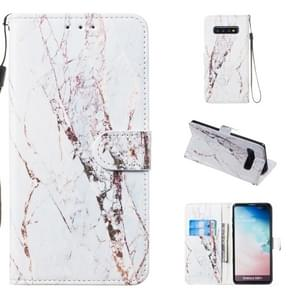 Leather Protective Case For Galaxy S10 Plus(White Marble)