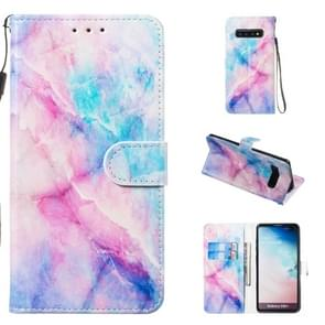 Leather Protective Case For Galaxy S10 Plus(Blue Pink Marble)