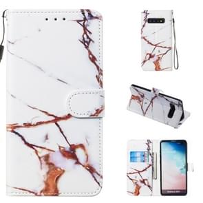 Leather Protective Case For Galaxy S10 Plus(White Gold Marble)