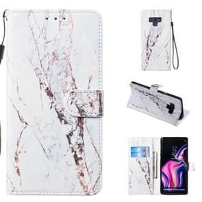 Leather Protective Case For Galaxy Note9(White Marble)