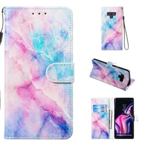 Leather Protective Case For Galaxy Note9(Blue Pink Marble)