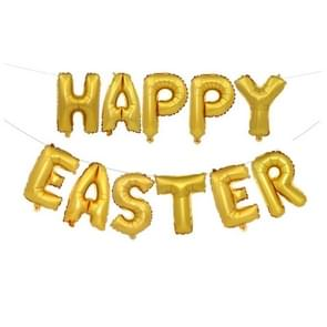 Happy Easter Pattern Easter Holiday Alphabetic Ornament Balloons, Size : 16 inch (Gold)