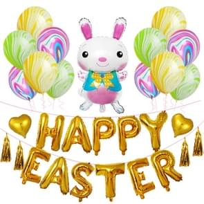 Happy Easter Rabbit Pattern Easter Holiday Alphabetic Ornament Balloons(Gold)