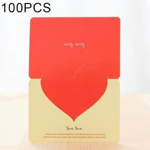 100 PCS Festival Creative Universal Love Heart Greeting Cards (Yellow)