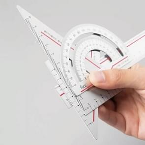 Originele Xiaomi Youpin Fizz Aluminium Alloy Ruler Set Ruler Drawing Measurement Geometrische Driehoek Protractor (Rood)