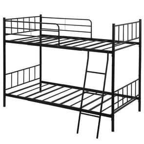 [JPN-magazijn] WF193201AAA Anti-seismisch Metaal Afneembaar Stapelbed Eenpersoonsbed voor kinderen  met side guards & ladder  grootte: 205 x 143 x 133cm(Zwart)
