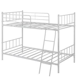 [JPN-magazijn] WF193201BAA Anti-seismisch Metaal Afneembaar Stapelbed Eenpersoonsbed voor kinderen  met side guards & ladder  grootte: 205 x 143 x 133cm(Wit)