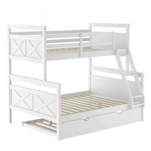 [Amerikaans pakhuis] Household Twin Over Full Bunk Bed met Ladder & Trundle (Wit)