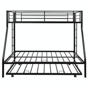 [Amerikaans pakhuis] Household Twin Over Full Sturdy Steel Frame Bunk Bed met Ladder & Trundle (Zwart)