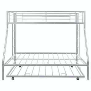 [Amerikaans pakhuis] Household Twin Over Full Sturdy Steel Frame Bunk Bed met Ladder & Trundle (Zilver)