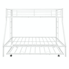 [Amerikaans pakhuis] Household Twin Over Full Sturdy Steel Frame Bunk Bed met Ladder & Trundle (Wit)