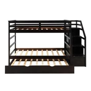 [Amerikaans pakhuis] LP000064AAP Twin Room met 3 opslagkasten  grootte: 94.4x42.4x61.4 inch(Koffie)