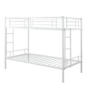 [Amerikaans pakhuis] Twin Over Twin Metal Bunk Bed met ladders aan twee zijden  grootte: 193 5x154 5x104cm (wit)