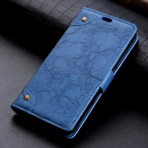 Copper Buckle Retro Crazy Horse Texture Horizontal Flip Leather Case for Google Pixel 3, with Holder & Card Slots & Wallet (Blue)