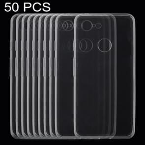 50 PCS 0.75mm Ultrathin Transparent TPU Soft Protective Case for Google Pixel 3 XL