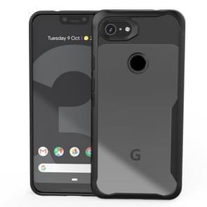 Transparante PC + TPU volledige schokbestendige beschermhoes voor Google pixel 3a XL (zwart)