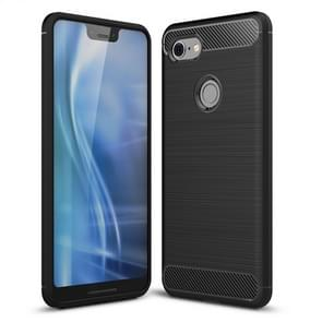 Brushed Texture Carbon Fiber Shockproof TPU Case for Google Pixel 3 XL(Black)