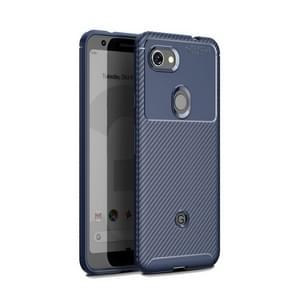 Carbon Fiber Texture Shockproof TPU Case for Google Pixel 3a (Blue)