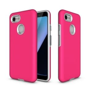 Anti-slip Armor textuur TPU + PC Case voor Google pixel 3 (Rose Red)