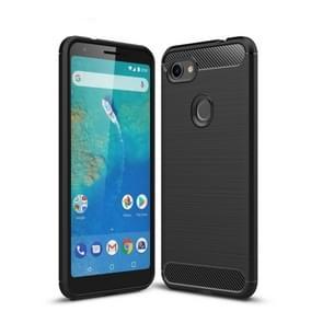 Brushed Texture Carbon Fiber Shockproof TPU Case for Google Pixel 3XL Lite(Black)