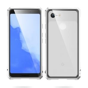 Snap-on Aluminum Frame and Tempered Glass Back Plate Case for Google Pixel 3(Silver)