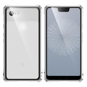 Snap-on Aluminum Frame and Tempered Glass Back Plate Case for Google Pixel 3XL(Silver)
