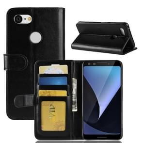 Crazy Horse Texture Horizontal Flip Leather Case for Google Pixel 3, with Wallet & Holder & Card Slots (Black)