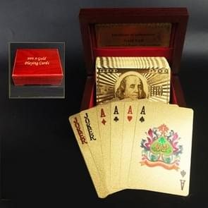 Creative Frosted Golden Dollar Back Texture Plastic From Vegas to Macau Playing Cards Texas Poker with Wooden Gift Box