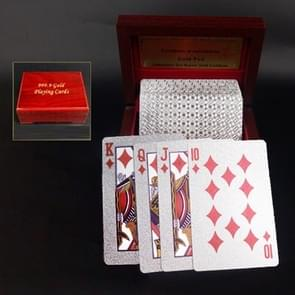Creative Frosted Silver Tattice Back Texture Plastic From Vegas to Macau Playing Cards Texas Poker with Wooden Gift Box