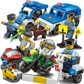 8 in 1 KAZI City Police Children DIY Verlichting Geassembleerde Bouwstenen Educational Intelligence Speelgoed