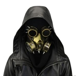 GM002 Halloween Dress Up Props Punk Style Gas Mask + Goggles Set (Gold)