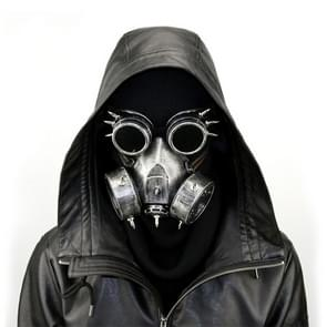 GM002 Halloween Dress Up Props Punk Style Gas Mask + Goggles Set (Zilver)