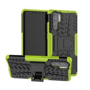 Tire Texture TPU + PC schokbestendig geval voor Huawei P30 Pro  met houder (groen)