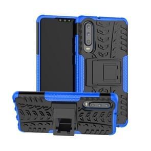 Tire Texture TPU + PC schokbestendig geval voor Huawei P30  met houder (blauw)