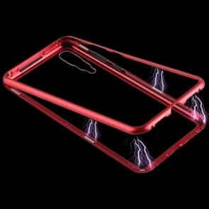 Magnetic Metal Frame Tempered Glass Case for Huawei P20 Pro(Red)