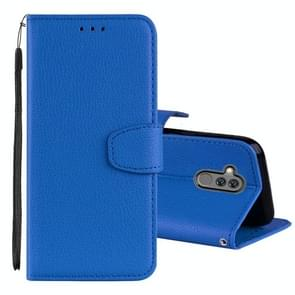 Litchi Texture Horizontal Flip Leather Case for Huawei Mate 20 Lite , with Holder & Card Slots & Wallet & Lanyard (Blue)