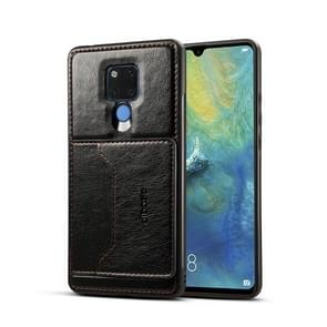 Dibase TPU + PC + PU Crazy Horse Texture Protective Case for Huawei Mate 20 X, with Holder & Card Slots (Black)