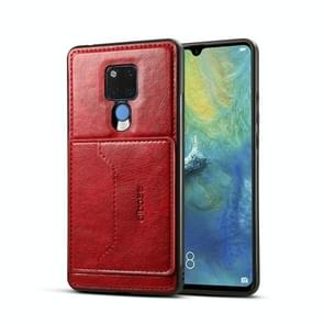 Dibase TPU + PC + PU Crazy Horse Texture Protective Case for Huawei Mate 20 X, with Holder & Card Slots (Red)