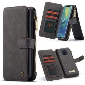 CaseMe Crazy Horse Texture Detachable Horizontal Flip PU Leather Case for Huawei Mate 20 Pro, with Card Slot & Holder & Zipper Wallet & Photo Frame(Black)