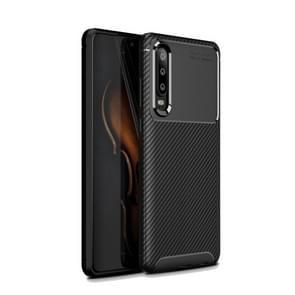 Carbon Fiber textuur schokbestendige TPU Case voor Huawei P30 (zwart)