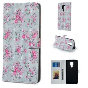 Rose patroon horizontale Flip lederen case voor Huawei mate 20 X  met houder & kaartsleuven & foto frame & portemonnee
