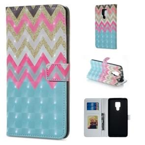 Color Wave Pattern Horizontal Flip Leather Case for Huawei Mate 20 X, with Holder & Card Slots & Photo Frame & Wallet