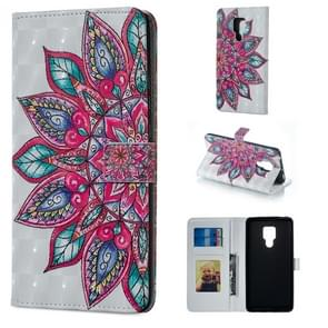 Half Flower Pattern Horizontal Flip Leather Case for Huawei Mate 20 X, with Holder & Card Slots & Photo Frame & Wallet