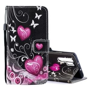Peach Heart Pattern Horizontal Flip Leather Case for Huawei P30 Pro, with Holder & Card Slots & Wallet