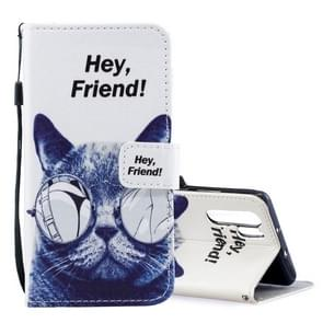 Cool Cat Pattern Horizontal Flip Leather Case for Huawei P30 Pro, with Holder & Card Slots & Wallet