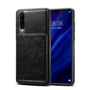Dibase TPU + PC + PU Crazy Horse Texture Protective Case for Huawei P30, with Holder & Card Slots (Black)