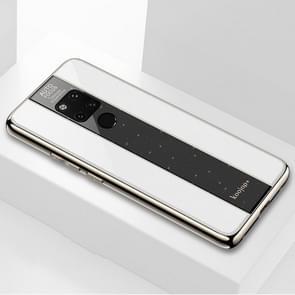 Gegalvaniseerde spiegel glazen geval voor Huawei Mate 20 X(White)