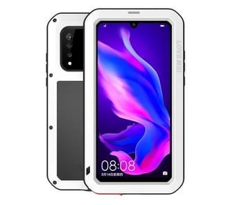 LOVE MEI Powerful Dustproof Shockproof Splashproof Metal + Silicone Combination Case for Huawei P30 Lite (White)