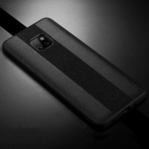 SULADA Anti-slip TPU + Handmade Leather Case for Huawei Mate 20 Pro (Black)