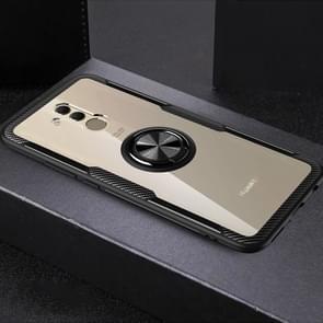 Krasvast TPU + acryl ring beugel beschermhoes voor Huawei mate 20 Lite (zwart)